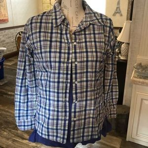 West bound blue & purple plaid flannel shirt 8